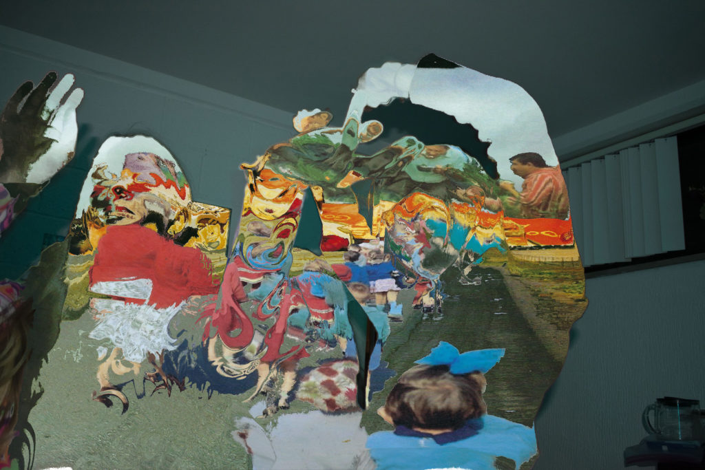 A digital collage of multiple images blurred together and masked out by body shapes.