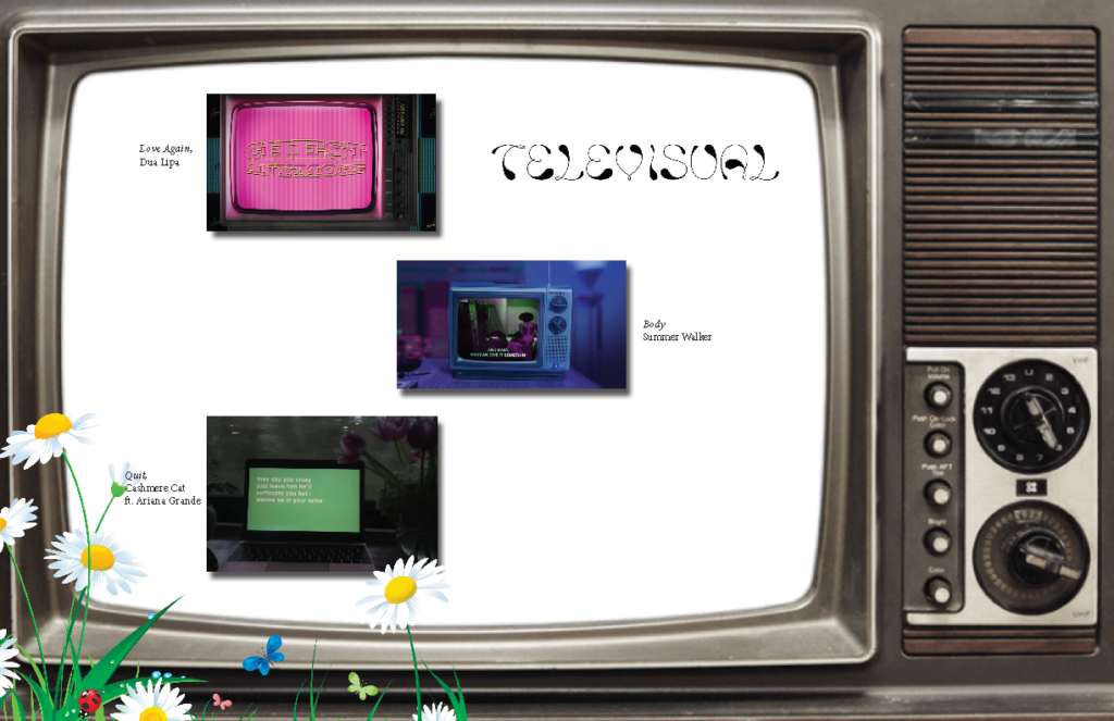 A digital collage of tv screens with words too small to read on white expanse in a the screen of a larger older television.
