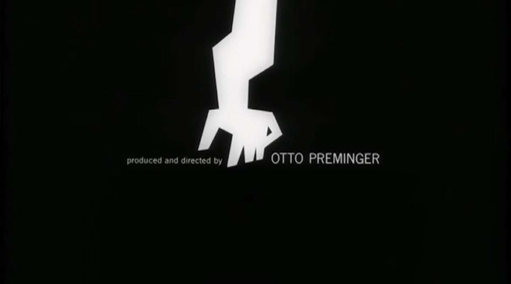 """A jagged drawing of an arm in white on a black background. The text """"produced and directed by otto preminger"""""""