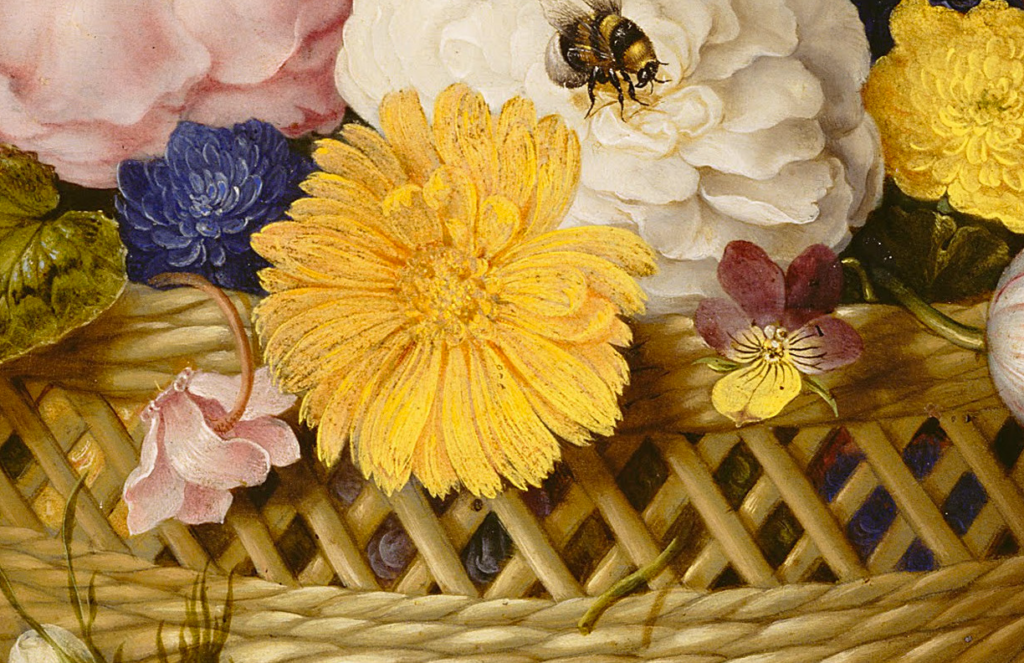 A close up of a painting of flowers in a basket with a bumblebee.