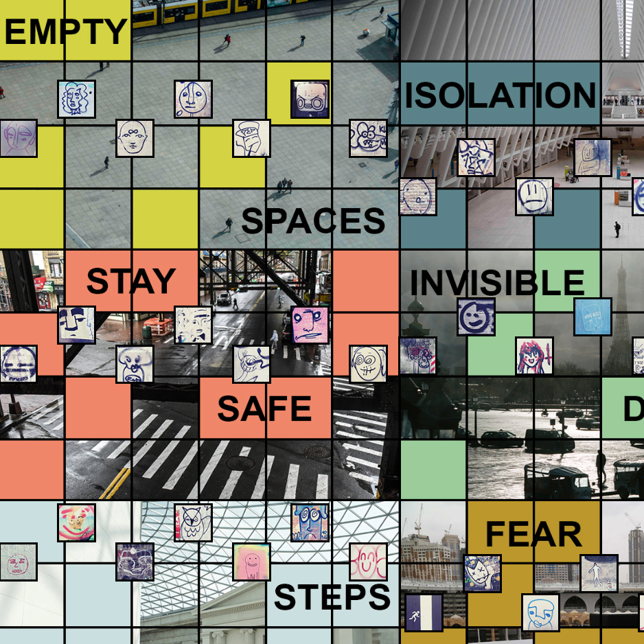 """A grid of fragmented photographs with smaller boxes of crude drawings . The words """"EMPTY"""" """"ISOLATION"""" """"SPACES"""" """"STAY"""" INVISIBLE"""" """"SAFE"""" FEAR"""" STEPS"""" are distributed in isolation across the grid with colored backgrounds behind the text."""